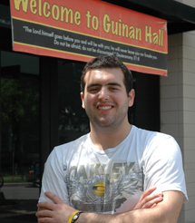 Jorge Gonzalez in front of Guinan Hall